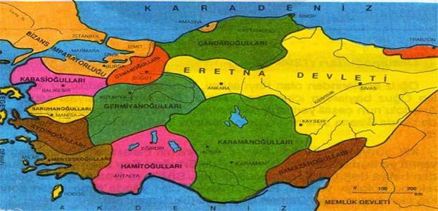 Anadolu'da Kurulan Beylikler Haritası